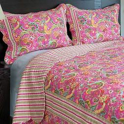 Bedford Home 3-Piece Paisley Quilt Set, King New
