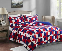 3 piece Patriotic Oversized King Quilt Set America Red White