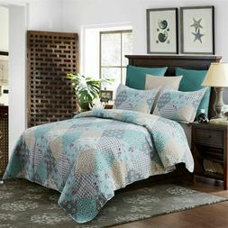 3 piece printed lightweight bedding quilt set