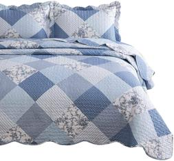 3-Piece Printed Quilt Set King Size 106x96 inches Blue Flora