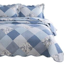 Bedsure 3-Piece Printed Quilt Set King Size King, Blue Flora