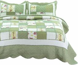 Bedsure 3-Piece Printed Quilt Set Queen/Full Size , Green Ru