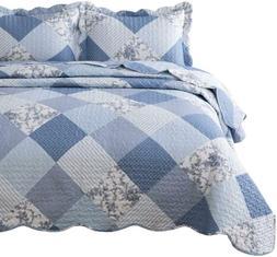 Bedsure 3-Piece Printed Quilt Set Queen/Full Size , Blue Flo