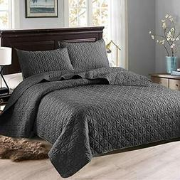 Exclusivo Mezcla 3-Piece Queen Size Quilt Set |Dark Grey)