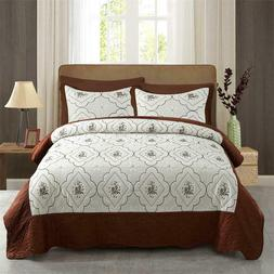 3-Piece Quilt Coverlet Quilt Set Bedspread Ultra Soft Elegan