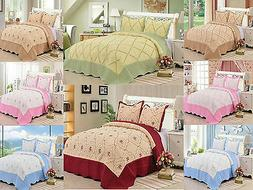 3 Piece Quilt Set Embroidered Hypoallergenic Quilted Bedspre