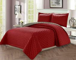 3 Piece Quilt Set Reversible Luxurious Quality Diamond Desig