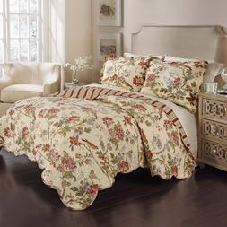 Waverly 3 Piece Reversible Quilt Set 100% Cotton - Charlesto