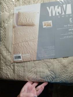 VCNY Home 3 Piece Shore Quilt Set, Queen, ivory