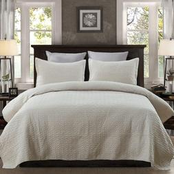 3 Piece Solid Quilt Set- Quilt And 2 Shams Lightweight Bedsp