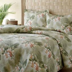 3 Piece Tommy Bahama TROPICAL ORCHID Full/Queen Size Quilt S