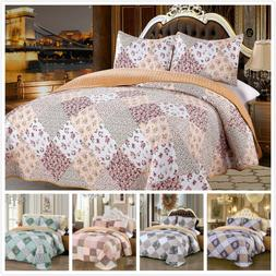 3 Pieces Microfiber Queen/King Quilt Set with Sherpa Backing
