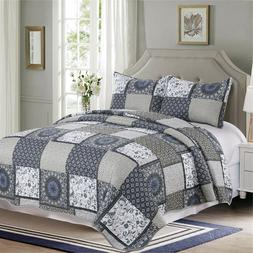 3 Pieces Microfiber Reversible Queen/King Quilt Set Blue Bei