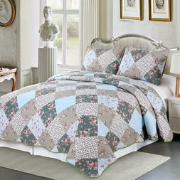 3 Pieces Microfiber Reversible Queen/King Quilt Set with Sha