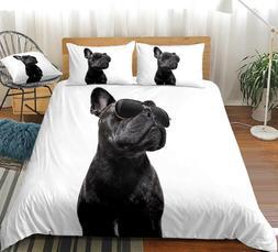 3D Black Dog Duvet Cover <font><b>Set</b></font> Bulldog wit