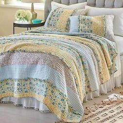 3p Bluebell Ditzy Ruffle Queen Quilt Set floral gingham yell