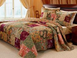 3pc ANTIQUE CHIC King Quilt Set Red Floral Paisley French Pr