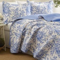 Laura Ashley 3pc Blue Reversible Quilt Set Twin Cotton Flora