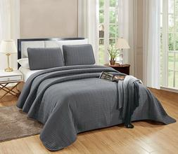 3Pc CAL KING Size Catena Quilt Set Dark Grey/Gray Microfiber