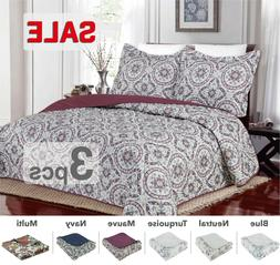 3PC, Regal Home Collections Floral Queen Size Quilt Set