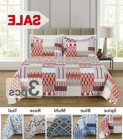 3pc geometric queen size quilt set one