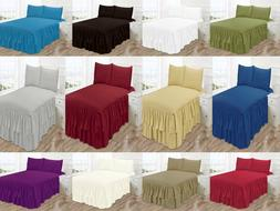3PC JACKY BEDSPREAD COVERLET SET PINSONIC SOLID DOUBLE RUFFL