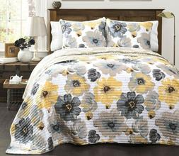 3pc LEAH QUILT SET King or Queen Floral Flowers Grey/Yellow