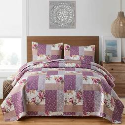 3pc Plaid Printed Reversible Bedspread/Quilt Set