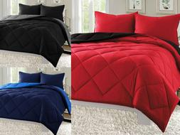 Empire 3pc Reversible Comforter Set Microfiber Quilted Bed C