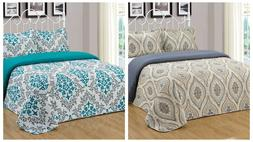 3Pc Reversible Quilt Set Bedspread Bedding Coverlet Set Flor
