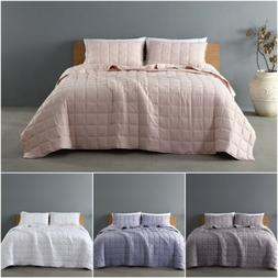 3pc Stone Washed Microfiber Coverlet Set, Square Embroidery
