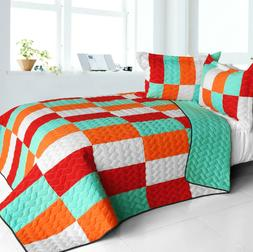 3pc vermicelli quilted patchwork quilt set full
