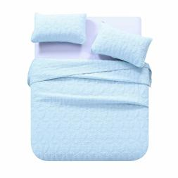 3Pcs 100% Cotton Quilt Set Bedspread Lightweight Bed Coverle