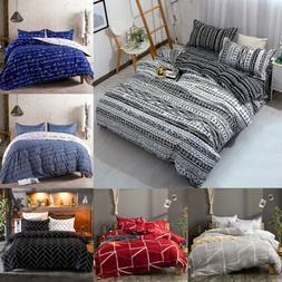 3Pcs Duvet Cover Set Printed Soft Comforter Cover w/ Pillow