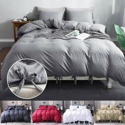 3Pcs Modern Duvet Cover Comforter Set Tie Strap Quilt Cover