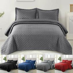 3pcs Quilt Set Embossed Reversible Bedspread Bedding Cover C