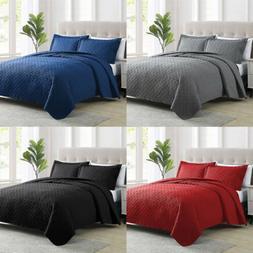 3pcs quilt set embossed reversible bedspread coverlet