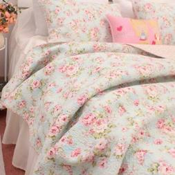 3PCS Shabby Chic Country Rose Quilt Coverlet Bedspread Queen