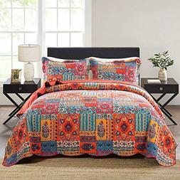 NEWLAKE 3Pieces Quilt Bedspread Coverlet Set,Tropical Bohemi