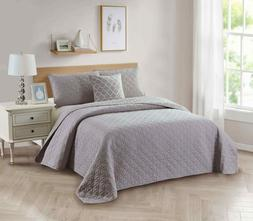 Bibb Home 4-Piece Solid Reversible Quilt Set with Embroidere
