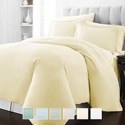 Pizuna 400 Thread Count Cotton Twin Duvet Cover Set, 100% Lo