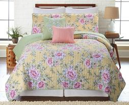 5 Piece Classic Floral Reversible Oversized Quilt Bedspread