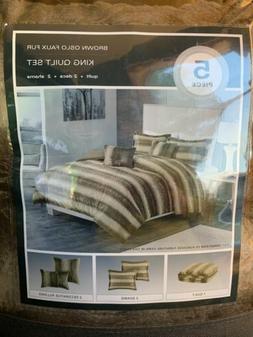 5 Piece  Comforter Quilt Set - Oslo Striped Faux Fur - Brown
