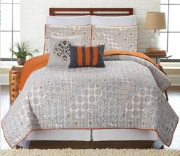 5 Piece Floral Haifa Reversible Oversized Quilt Bedspread Co