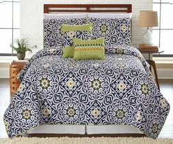 5 Piece Navy Cadiz Reversible Oversized Quilt Bedspread Cove