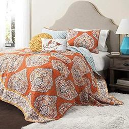 5 Piece Orange Damask King Size Quilt Set Grey Geomectrical