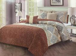 5 piece Quilt Set Coverlet Bedspread Luxury Brown Comforter