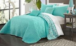 Chic Home 5-Piece Reversible Quilt Set - Aqua - Size: Queen