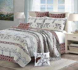 Virah Bella 5pc Quilt Set Full/Queen King Size Blanket 2 Pil