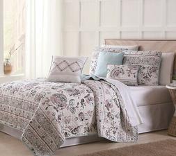 6 Piece Abigail Floral Mint/Blush/White Quilt Set Full/Queen
